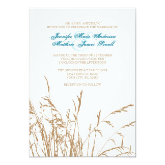 Brown and Teal Sea Grass Beach Wedding Invitation
