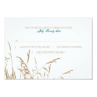 Brown and Teal Sea Grass Beach Wedding rsvp 9 Cm X 13 Cm Invitation Card