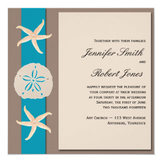 Brown and Turquoise Band Starfish Wedding 13 Cm X 13 Cm Square Invitation Card