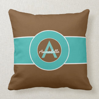 Brown and Turquoise Throw Pillow