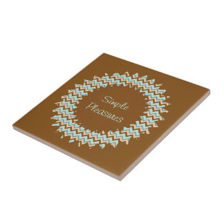 Brown and Turquoise Zigzag Starburst Small Square Tile