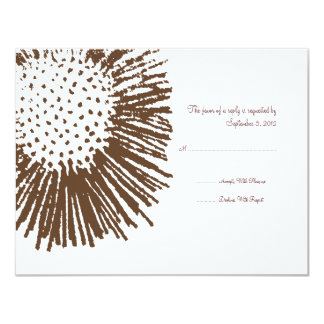 Brown and White Abstract Floral Wedding RSVP Card