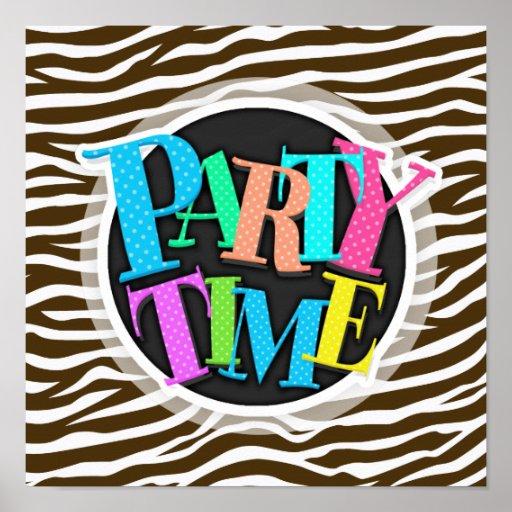 Brown and White Animal Print Zebra Stripes