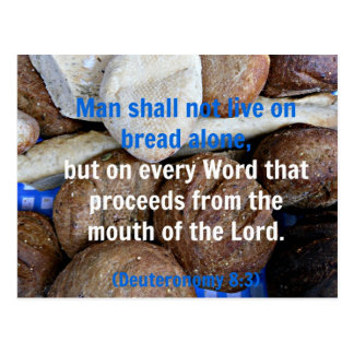 Brown and white bread with Deuteronomy Bible verse Postcard