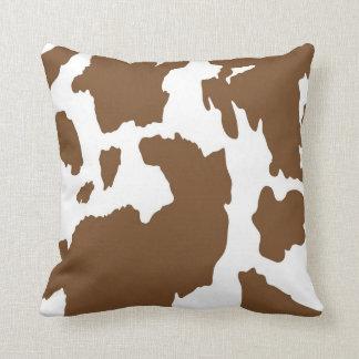 Brown and White Cow Print Cushion