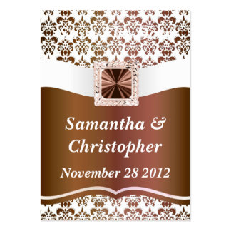 Brown and white damask business card template