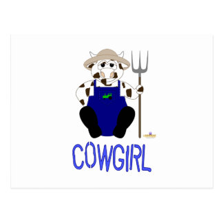 Brown And White Farmer Cow Blue Cowgirl Post Cards