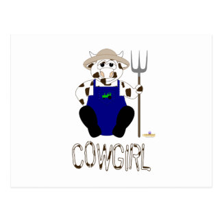 Brown And White Farmer Cow Brown White Cowgirl Post Card