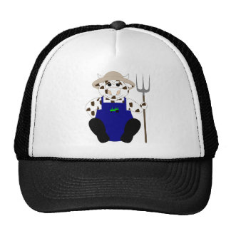 Brown And White Farmer Cow Hat