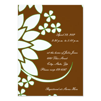 Brown and White Floral Bridal Shower Invitation