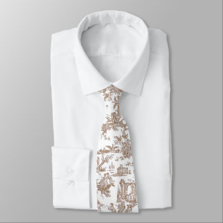 Brown and White French Toile Neck Tie