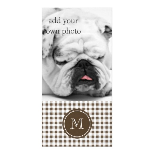 Brown and White Gingham, Your Monogram Customized Photo Card