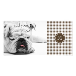 Brown and White Gingham Your Monogram Photo Card