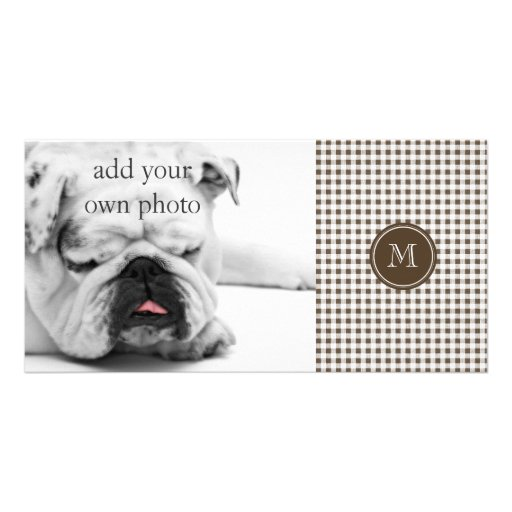 Brown and White Gingham, Your Monogram Photo Card