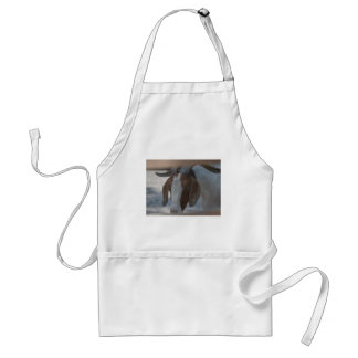 brown and white goat aprons