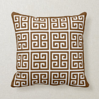 Brown And White Greek Key Pattern Throw Pillow