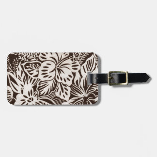 Brown and White Hibiscus Luggage Tag