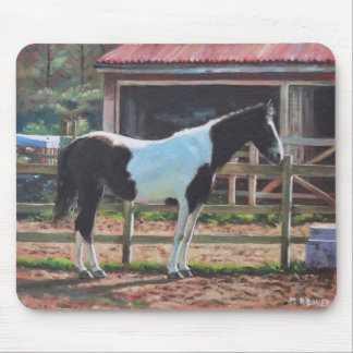 Brown And White Horse By Stable Mouse Pad