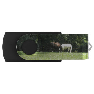 Brown And White Horses Grazing Swivel USB 2.0 Flash Drive