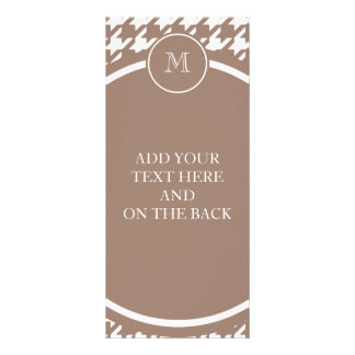 Brown and White Houndstooth Your Monogram Rack Card