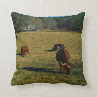 Brown and white longhorn cattle cushion