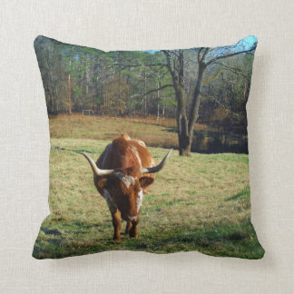 Brown and white longhorn Cow Cushion
