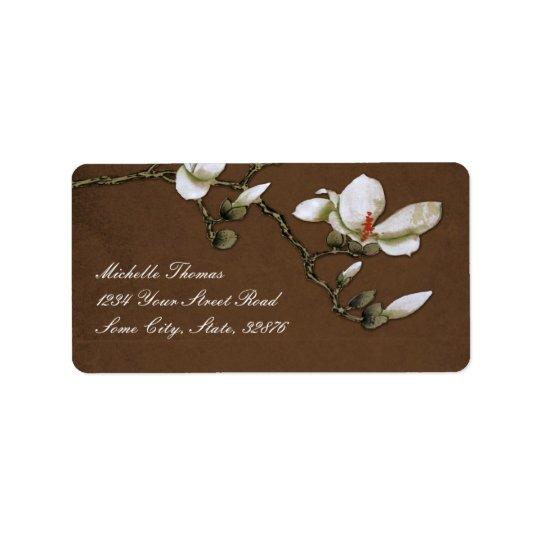 Brown and White Magnolia Return Address Label