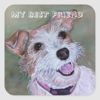 BROWN AND WHITE MIXED TERRIER | SQUARE STICKER