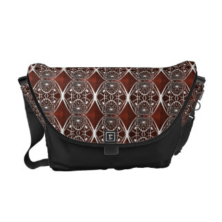 Brown And White Mosaic Pattern Messenger Bags