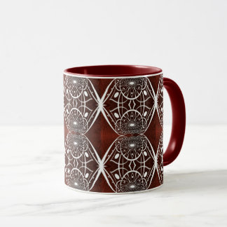 Brown And White Mosaic Pattern Mug
