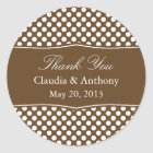 Brown and White Polka Dot Thank You Wedding Classic Round Sticker