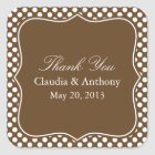 Brown and White Polka Dot Thank You Wedding Square Sticker