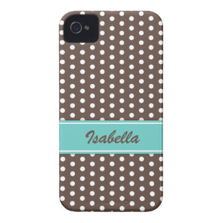 Brown and white polka dots iPhone 4 case
