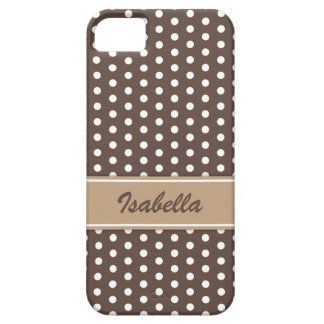 Brown and white polka dots iPhone 5 case