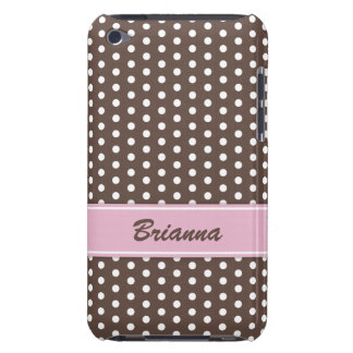 Brown and white polka dots pattern iPod case Barely There iPod Cases
