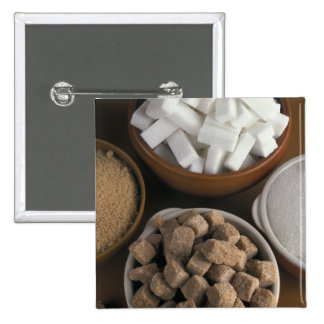 Brown and white sugars in cubes and powder 15 cm square badge