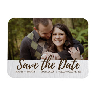 Brown and White Wooden Texture Save the Date Photo Rectangular Photo Magnet