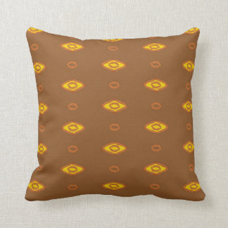 Brown and Yellow Retro Cotton Reversible Pillow