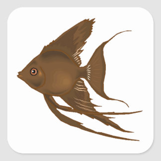 Brown Angel Fish Square Sticker
