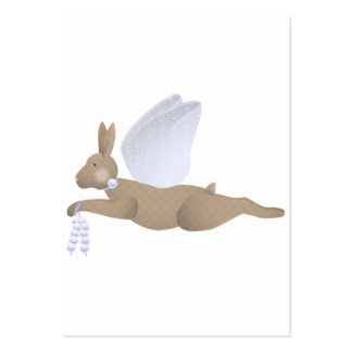 Brown Angel Rabbit With Blue Wings Business Card Template