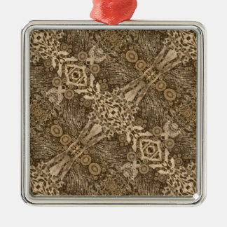 Brown Animal Print Abstract Silver-Colored Square Decoration
