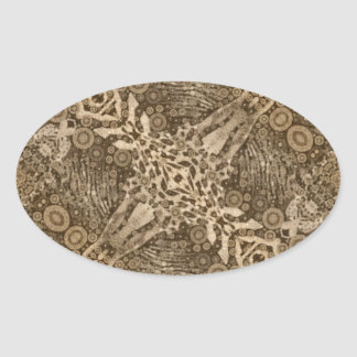 Brown Animal Print Abstract Oval Sticker