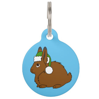 Brown Arctic Hare with Christmas Green Santa Hat Pet Tag