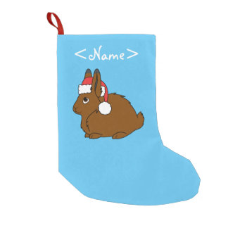 Brown Arctic Hare with Red Santa Hat