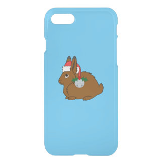 Brown Arctic Hare with Santa Hat & Silver Bell iPhone 7 Case