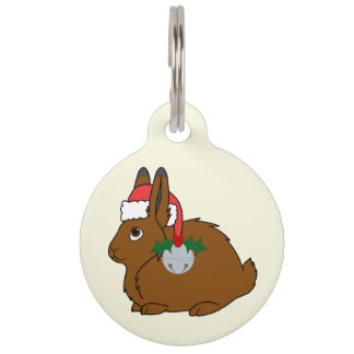 Brown Arctic Hare with Santa Hat & Silver Bell Pet Nametag