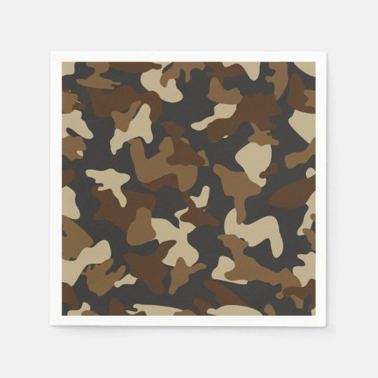 Brown army camo camouflage pattern disposable napkin