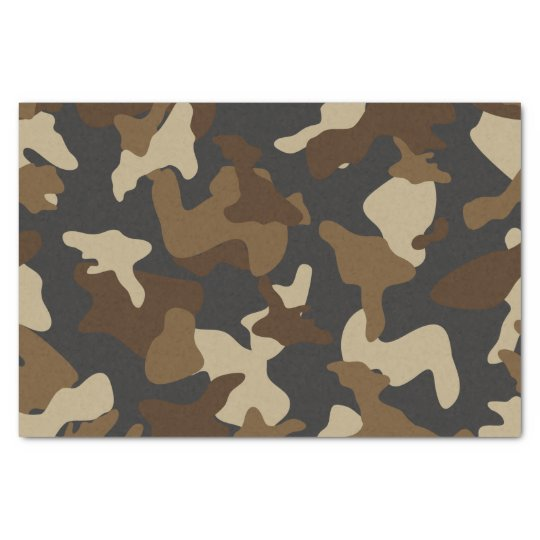 Brown army camo camouflage pattern tissue paper