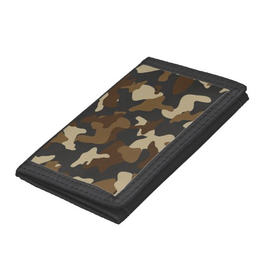 Brown army camo camouflage pattern tri-fold wallet