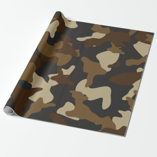 Brown army camo camouflage pattern wrapping paper